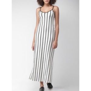 White & Blackl Striped Fitted Comfy Maxi Dress